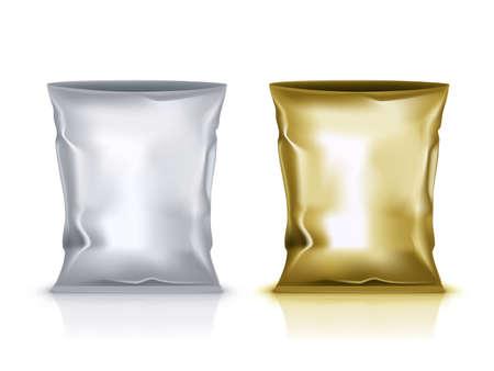 Open Blank Foil Pouch Snack Packaging On White Vettoriali