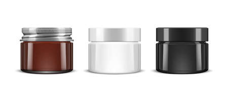 3D Brown Glass Cosmetic Jar With Metal Lid Vettoriali