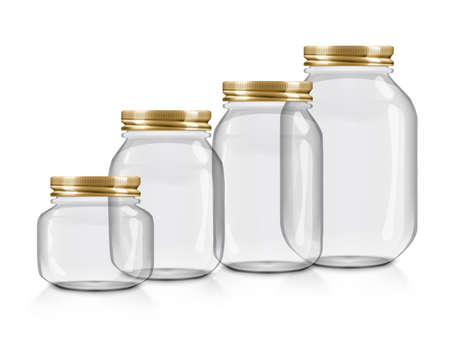 Glass Jars For Canning With Golden Caps Vettoriali