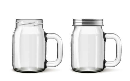 3D Open And Close Transparent Glass Drinking Jar Vettoriali