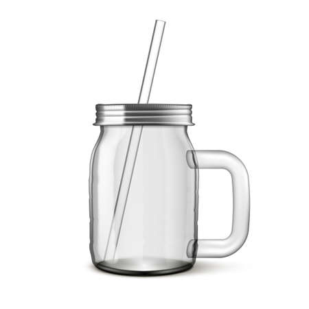 3D Clear Transparent Glass Jar With Drink Tube