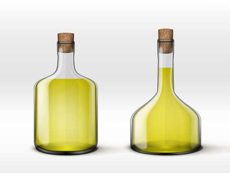 Alcohol Drink In Glass Carafe And Glass Bottles