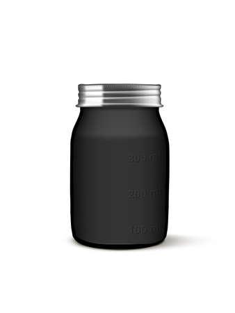 3D Black Jar With Milliliter Measurement On Side