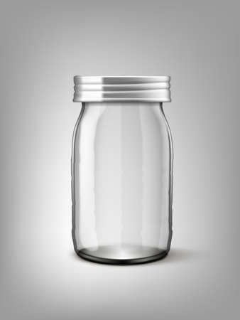 Clear Empty Transparent Glass Jar With Silver Cap