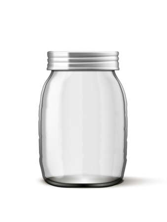 Clear Empty Transparent Glass Jar With Metal Cap