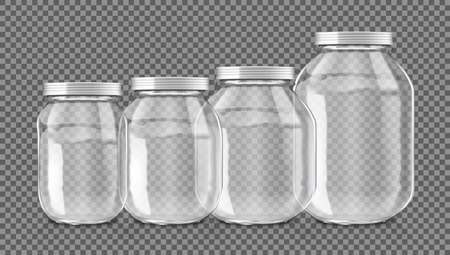 3D Realistic Empty Glass Jar Set Isolated Vettoriali