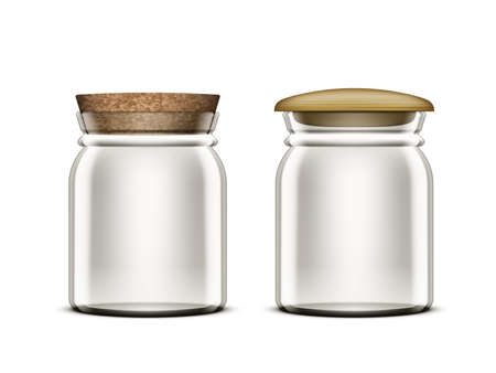 3D Empty Jam Glass Jar With wood And Cork Cap