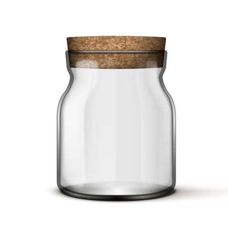 3D Empty Jam Glass Jar With Cork Cap