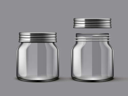 3D Empty Jam Glass Jar With And Without Cap