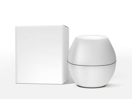 3D Egg Shape Cosmetic Jar With Packaging Box Vettoriali