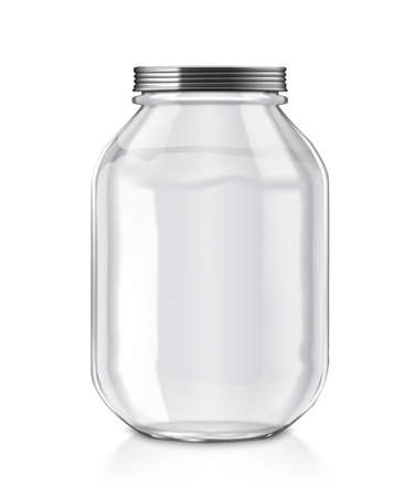 Clear Empty Glass Jar Isolated On White Background