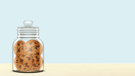 3D Transparent Jar With Cookies On Wooden Table Vettoriali