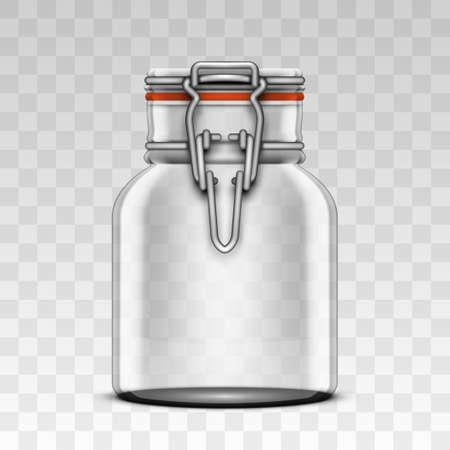 3D Close Transparent Empty Swing Top Jar