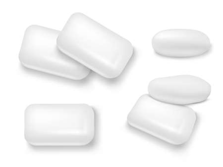 3D White Mint Chewing Gum With Shadow Set