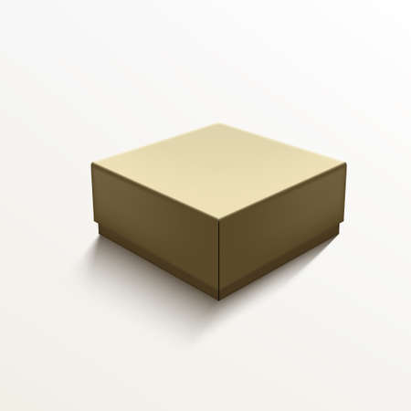 Square Shape Craft Paper Gift Box On White