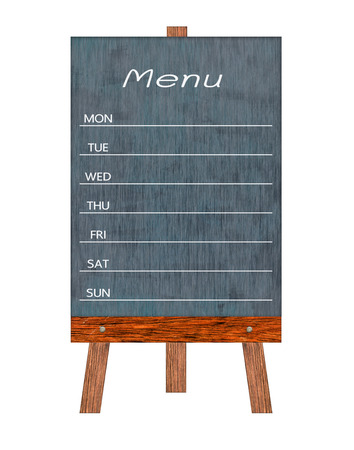 Wooden menu display Sign, Frame restaurant message board, Isolated on white background with copy space for adding more text. (Clipping path included)