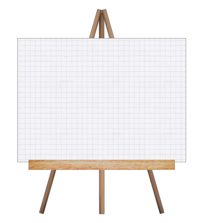 Presentation easel drawing whiteboard, Isolated on white background, Memo board or message board stand, Template mock up for adding your design and adding more text. (Clipping path included) Stock Photo