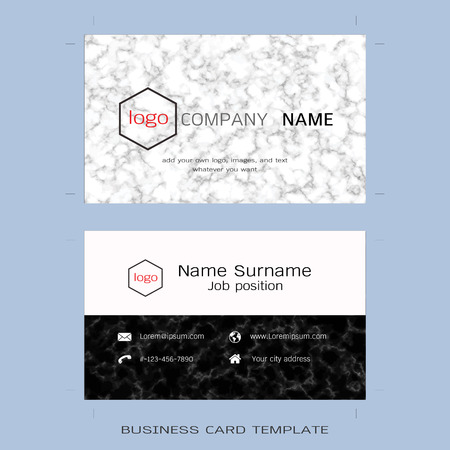 own: Modern designer business card layout templates, Marble texture background, Easy to use by print a special offer or add your own logo, images, and text, whatever you want (Flat design vector) Illustration