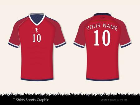 T-Shirt Sport-Design für Fußballverein, Vorder- und Rückansicht Fußball Trikotuniform, Sport Slim fit Hemden Bekleidung Spott oben, grafische Vorlage Vektor Illustration Eps 10. Standard-Bild - 84929793