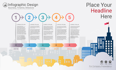 Business infographics template, Milestone timeline or Road map with Process flowchart 5 options, Strategic plan to define company values, Scheduling in project management to make facts and statistics. 向量圖像