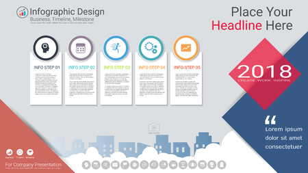 Business infographics template, Milestone timeline or Road map with Process flowchart 5 options, Strategic plan to define company values, Scheduling in project management to make facts and statistics. Illustration