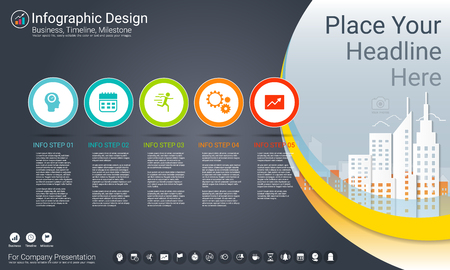 Business infographics template with Process flowchart 5 options, Strategic plan to define company values, Scheduling in project management to make facts and statistics. Illustration