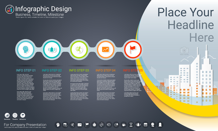 Business infographics template, Milestone timeline or Road map with Process flowchart 5 options, Strategic plan to define company values, Scheduling in project management to make facts and statistics. Vettoriali