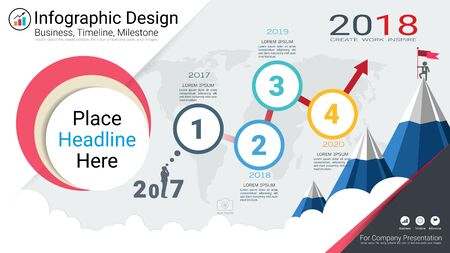 Milestone timeline info-graphic design, Road map or strategic plan to define company values, Can be used milestones for scheduling in project management to mark specific points along a project timeline.