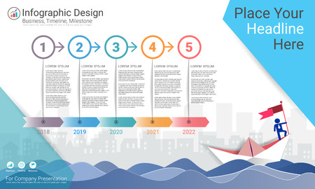Business infographics template, Milestone timeline or Road map with Process flowchart 5 options, Strategic plan to define company values, Scheduling in project management to make facts and statistics. Иллюстрация