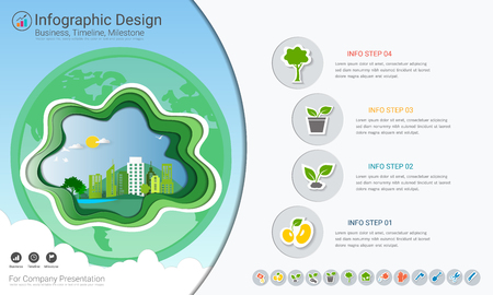 Plants growing timeline infographics with icons set.