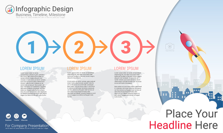 Business infographics report template, milestone timeline or road map with process flowchart of 3 options.