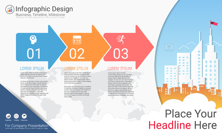 Business infographics report, Milestone timeline or Road map with Process flowchart 3 options, Strategic plan to define company values, Scheduling in project management to make facts and statistics.