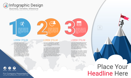 Business infographics report with Process flowchart 3 options, Strategic plan to define company values, Scheduling in project management to make facts and statistics.
