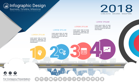 Business infographics template, Milestone timeline or Road map with Process flowchart 4 options, Strategic plan to define company values, Scheduling in project management to make facts and statistics.  イラスト・ベクター素材
