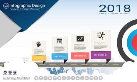 Modèle d'infographie d'entreprise, chronologie de jalon ou feuille de route avec les options de l'organigramme de processus 4, plan stratégique pour définir les valeurs de l'entreprise, planification de la gestion de projet pour faire des faits et des statistiques.