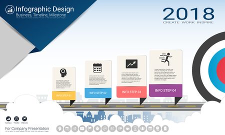 Business infographics template, Milestone timeline or Road map with Process flowchart 4 options, Strategic plan to define company values, Scheduling in project management to make facts and statistics. Vettoriali