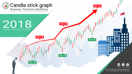 Candlestick and financial graph charts, Infographic presentations template, Global network connection and Business analytics, Forex stock market investment trading, Bullish point, Bearish point. Иллюстрация