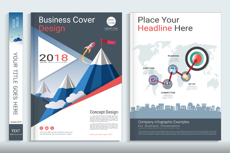 Corporate business cover book design template with infographics elements