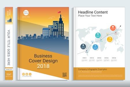 Corporate business cover book design template with infographics elements, Use for annual report, brochure, flyer, leaflet, sale kit, catalog, magazine, booklet, portfolio, poster, Vector template in A4 layout.