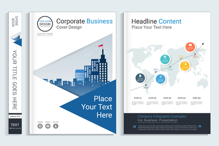 Corporate business cover book design template with infographics elements, Use for annual report, brochure, flyer, leaflet, sale kit, catalog, magazine, booklet, portfolio, poster, Vector template in A