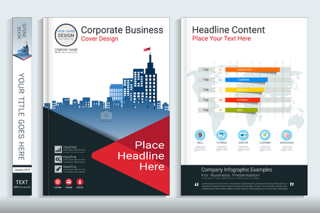 Corporate business cover book design template with info graphics elements.