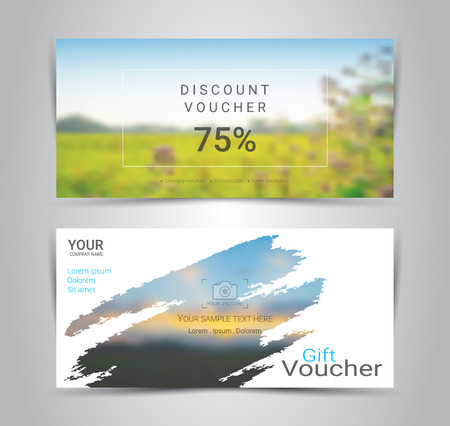Gift certificates and vouchers, discount coupon or banner web template with blurred background gradient mesh for make an image of the products your company offers (Blurred photo for an example) Illustration