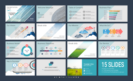 Presentation template with infographic elements, designs cover all styles, creative and formal for business presentations
