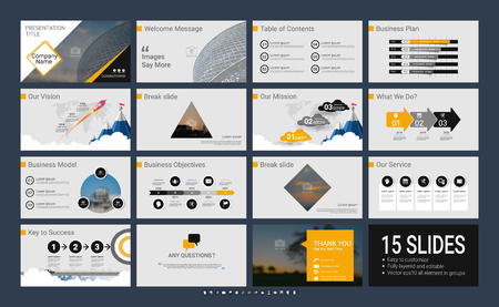 Presentation template with infographic elements, designs cover all styles and creative to formal and business presentations, flyer and leaflet, corporate report, marketing, advertising, annual report. Illusztráció
