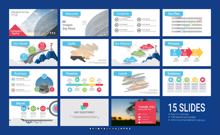 Presentation template with infographic elements, designs cover all styles and creative to formal and business presentations, flyer and leaflet, corporate report, marketing, advertising, annual report. Stock Illustratie