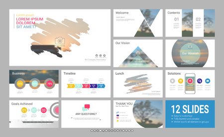 Presentation template with infographic elements, designs cover all styles and creative to formal and business presentations, flyer and leaflet, corporate report, marketing, advertising, annual report. Çizim