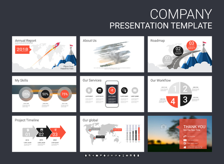 Presentation template with infographic elements, designs cover all styles and creative to formal and business presentations, flyer and leaflet, corporate report, marketing, advertising, annual report. Ilustração