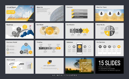 Presentation template with infographic elements, designs cover all styles and creative to formal and business presentations, flyer and leaflet, corporate report, marketing, advertising, annual report. Vectores