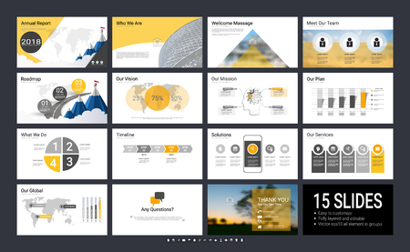 Presentation template with infographic elements, designs cover all styles and creative to formal and business presentations, flyer and leaflet, corporate report, marketing, advertising, annual report.  イラスト・ベクター素材