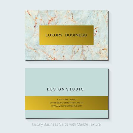 Luxury business cards template, Vector illustration on blue background.